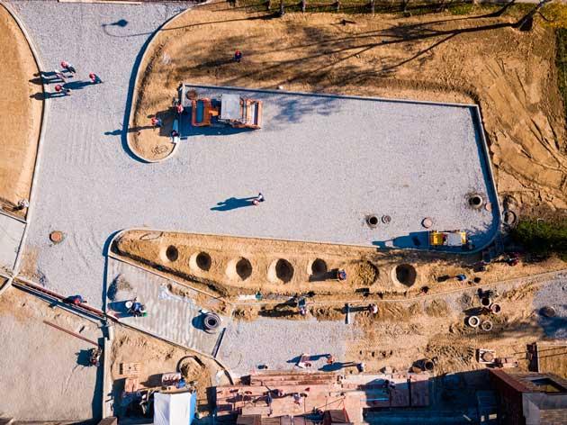 visão aérea de drones na construção civil